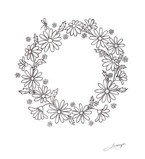 Humming Needles: Daisy Wreath Design free pattern