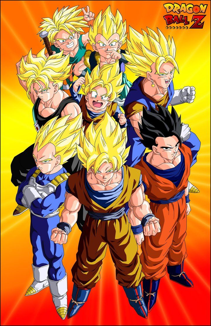 The Super Saiyans; Goku, Gohan, Vegeta, Future Trunks, Goten, Vegito, Young Trunks, and Gotenks