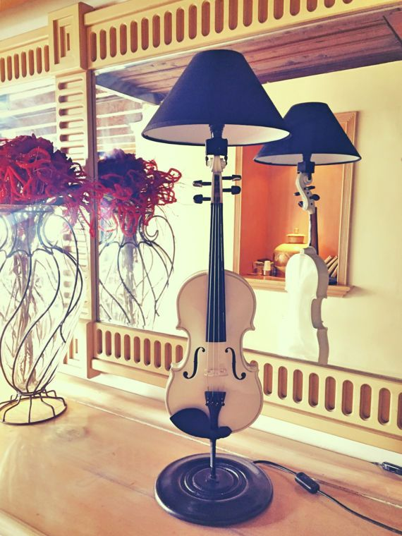 Violin lamp white by MusicLampsArt on Etsy