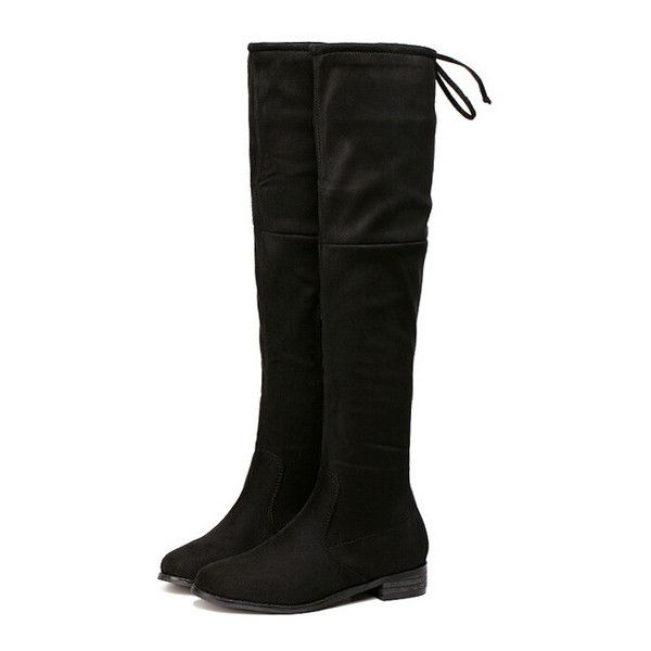 SheIn(sheinside) Black Chunky Heel Zipper Boots (594.570 IDR) ❤ liked on Polyvore featuring shoes, boots, black, black low heel boots, knee high boots, chunky heel boots, zipper boots and black zipper boots