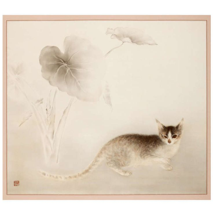 Chorafuku Scroll Painting of Cat under Wild Taro | From a unique collection of antique and modern paintings at http://www.1stdibs.com/furniture/wall-decorations/paintings/