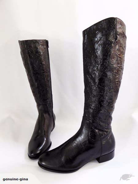Embossed BRESLEY genuine leather kneehigh boots size 37