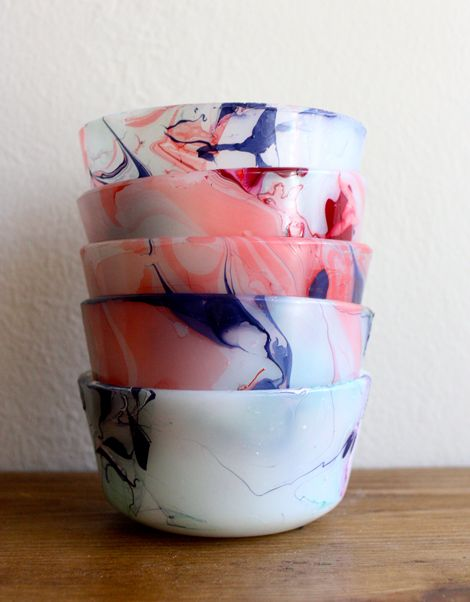 DIY Marbled Bowls - use a bath of hot water and drops of nail polish to roll 3D objects into or lay flat card stock into the bath to create a marble look