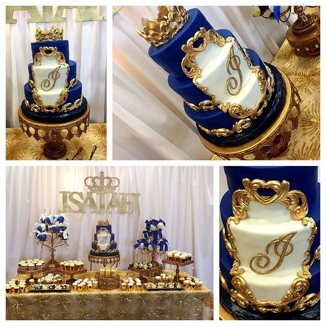 Royal blue and gold baby shower dessert table fit for a prince!  Desserts by @dejavusweets  #babyshower ...