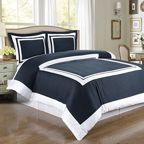 Hotel Navy and White 3pc Full / Queen Comforter Cover (Duvet-Cover-Set) 100 % Egyptian Cotton 300 TC
