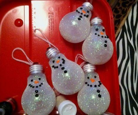 muñecos de nieve con bombillas