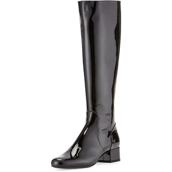 Saint Laurent Patent Leather Knee Boot featuring polyvore, women's fashion, shoes, boots, black, knee-high boots, patent leather boots, black knee high boots, side zip boots, side zipper boots and knee boots