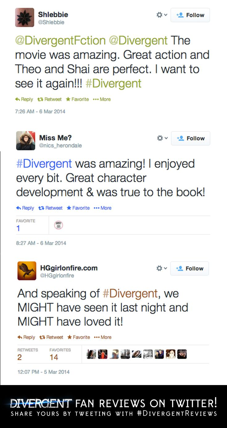 Keep the #Divergent reviews coming!  Follow us at twitter.com/divergent for all the latest #Divergent news, and check out all the other fan reviews here!