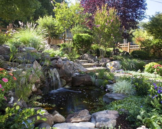 20 best fish ponds images on Pinterest Landscaping Backyard ponds