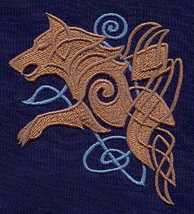 Motif broderie Loups Celtiques