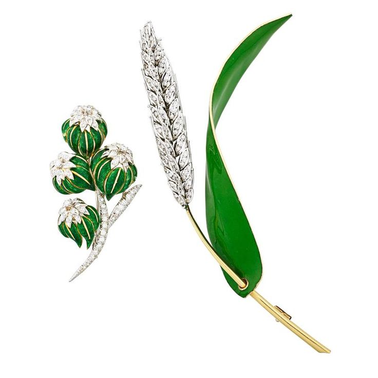 """TWO DIAMOND AND ENAMELED GOLD VEGETAL BROOCHES - Sheaf of wheat, bicolor 18k gold; Bicolor 18k gold floral cluster brooch, Carletto, Italy, RBC diamonds, approx. 2 cts. TW throughout. Larger 5"""". 37.3 dwt."""