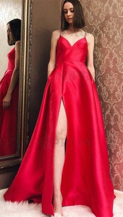sexy spaghetti strap red satin prom dress with split, fashion a-line spaghetti strap evening dress with split