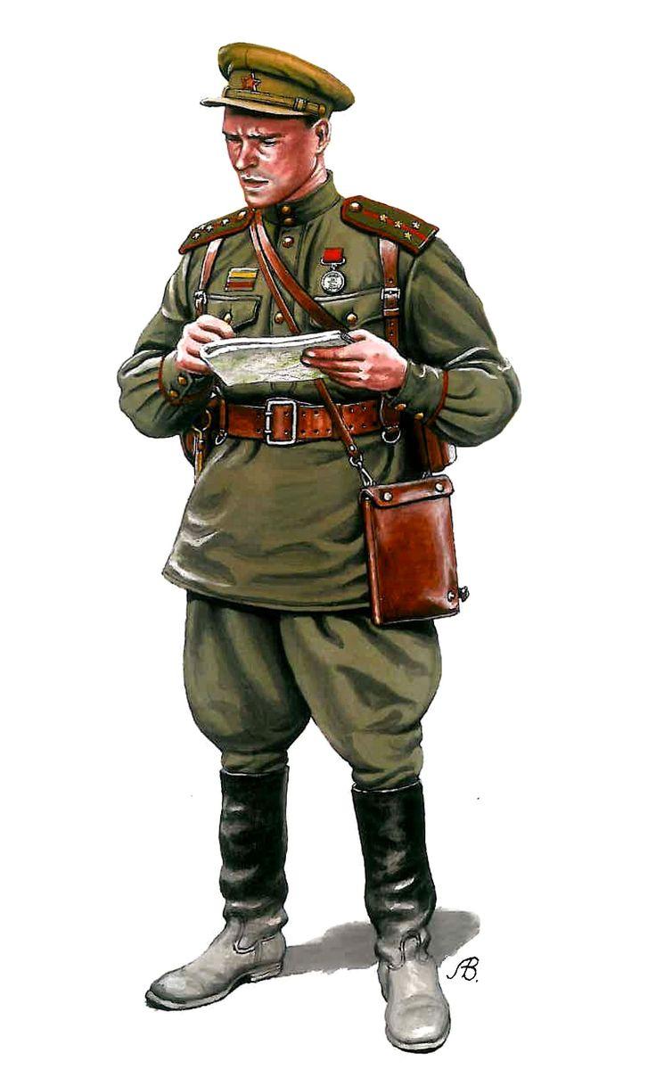 Capitán de infanteria sovietico, lleva la tunica para oficiales modelo 1943
