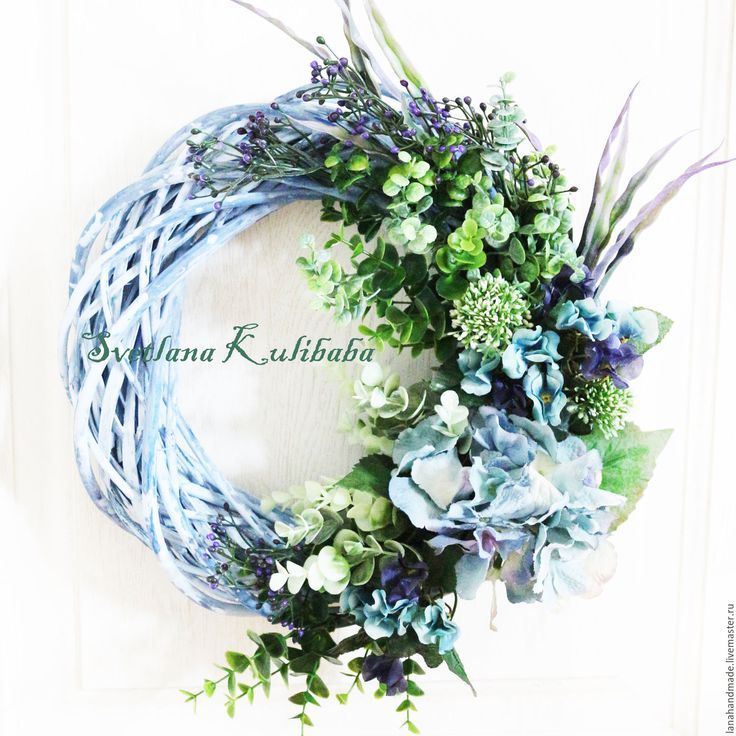 Купить Венок на дверь.Ноты гортензии - голубой, венок из цветов, венок с цветами, венок на дверь
