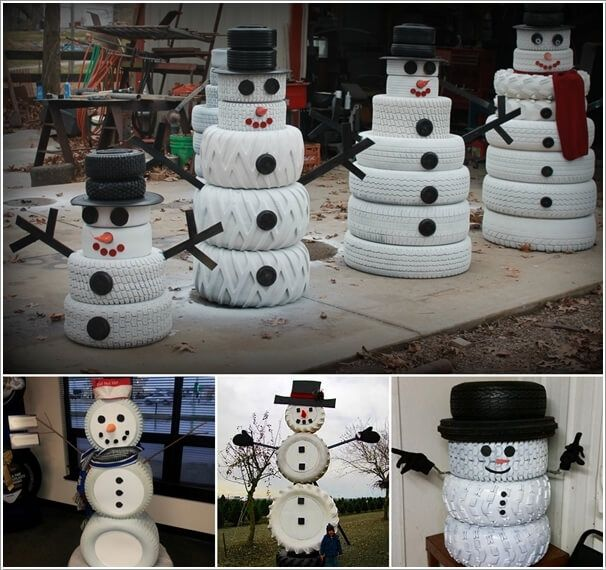 Recycle and paint old tires into a fun snowman diy home for Tire decoration ideas
