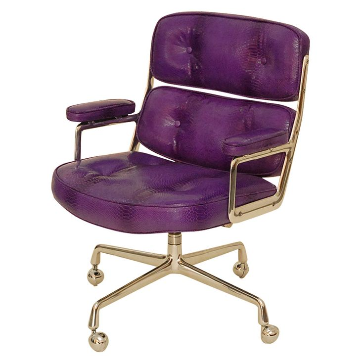 This purple python office chair means business. The polished aluminum is stunning. This could be my dream office chair.