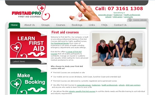 http://www.thecreativecollective.com.au/portfolio-web-design    FirstAidPro is a Adelaide based First Aid Training Provider delivering high quality First Aid training tailored to meet specific client requirements.     They cater for corporate clients, tradesmen, health professionals, hospitality, schools, child care workers, industry and anybody who wants to learn how to save a life.