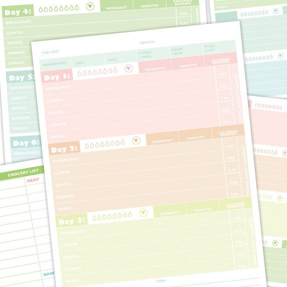 Workout planner Fitness Journal Printable by StarCityDesigns