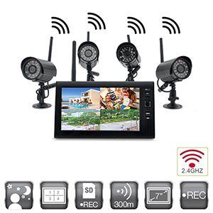 Kit video surveillance sans-fil numérique avec 4 caméras intérieure infrarouge et récepteur 2.4Ghz écran LCD 7