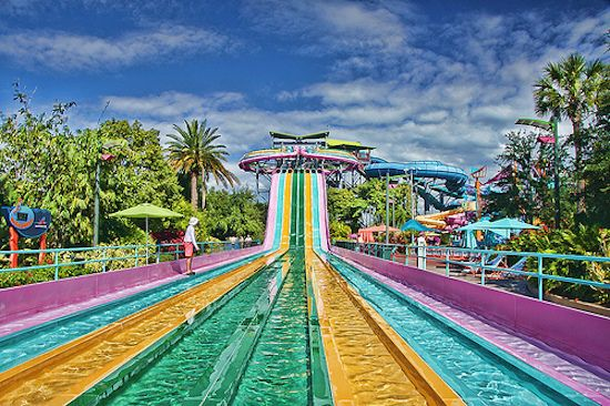 Aquatica water park at SeaWorld Orlando, Orlando, Orange county, Florida, USA. The name of the water slide is Taumata Racer. This water park is located at 5800 Water Play Way @ International Drive. There are also other Aquatica water parks at SeaWorld San Antonio, Texas, and in Chula Vista, San Diego county. https://www.google.ca/maps/place/Taumata+Racer/@28.4094441,-81.4748476,15z/data=!4m5!3m4!1s0x88e77e3b313297ff:0x7f3764781a8576b4!8m2!3d28.4169383!4d-81.4570857