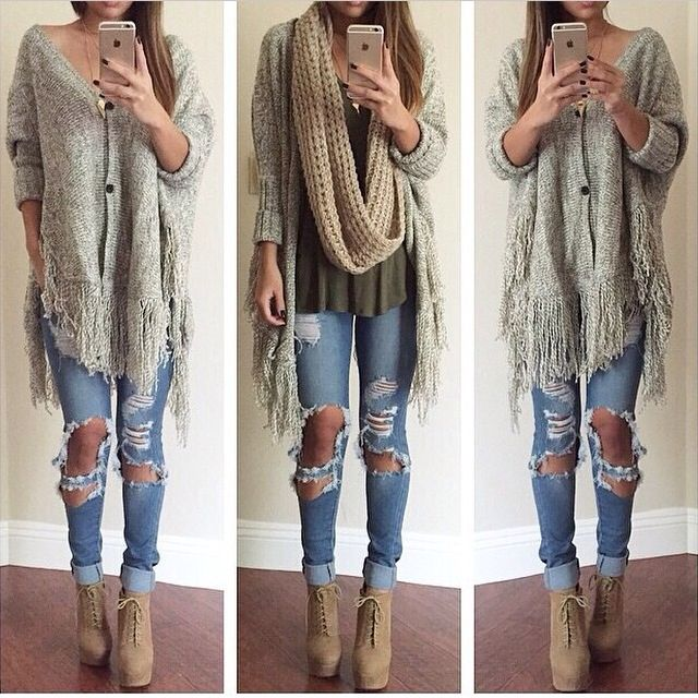 Destroyed jeans. Lon cardigan. Fashion