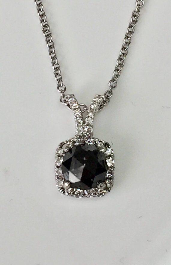 1.51 cttw Black diamond pendant, boho organic necklace, hippie pendant, minimalist diamond necklace,