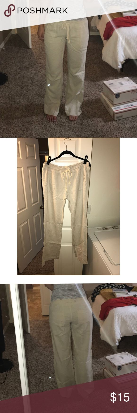 """Roxy Tan Linen Beach Pants Roxy. Tan linen beach pants. Size XL, but definitely run small for their size! I'm typically a 6 and these fit me exactly how it shows in the photo and I am 5'8"""" for reference. Literally worn once for sorority recruitment and then never again so they are in absolute perfect condition, just need to be steamed or ironed :) Roxy Pants"""
