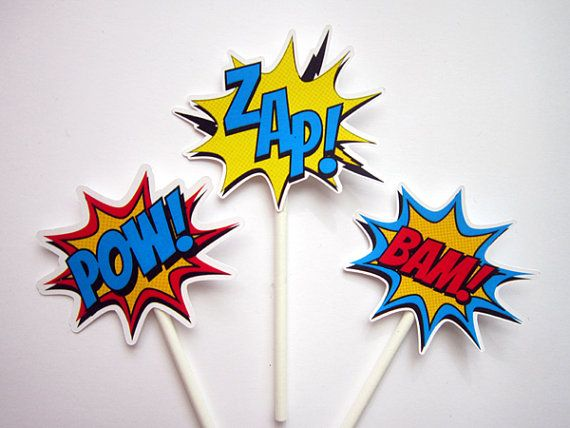 Superhero Cupcake Toppers - Superhero Bursts Cupcake Toppers, Superhero Mini Cupcake Toppers