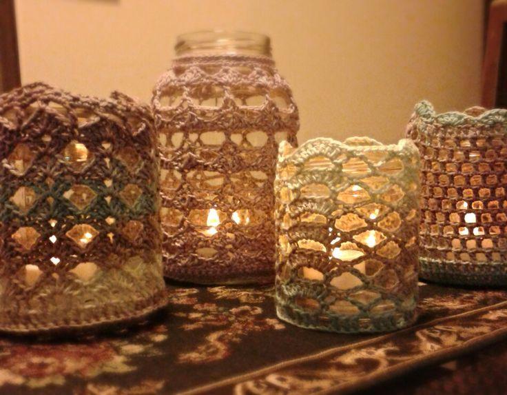 Reciclaje de frascos de vidrio decorados en crochet - Frascos de vidrio decorados ...