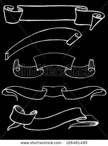 Set of Vector Chalkboard Ribbons 1