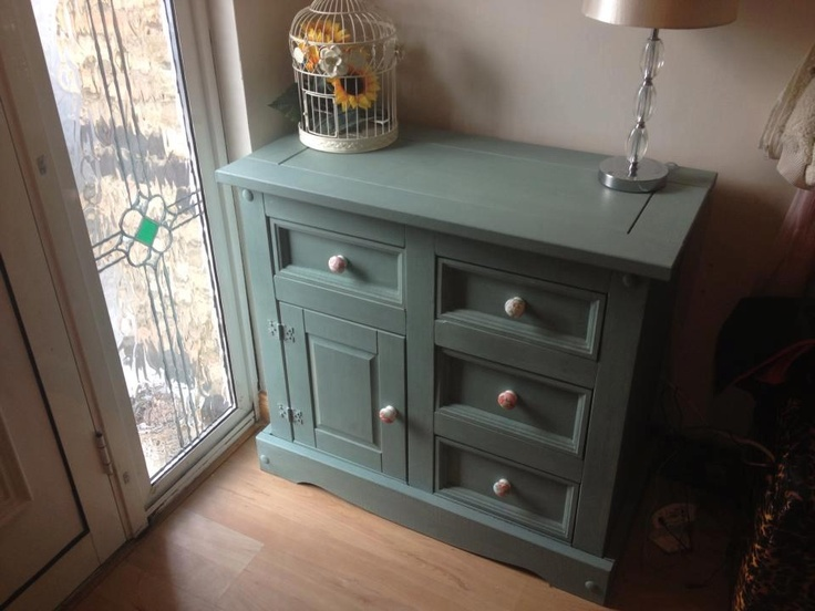 Mexican Pine repainted with Annie Sloan Chalk Paint Duck Egg Blue colour.