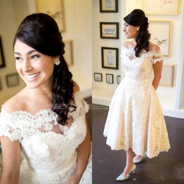 >> Click to Buy << Vintage 1950s Style A Line Off Shoulder Lace Wedding Dresses Tea Length Bridal Gowns Short Country Wdding Dress Vestido De Noiva #Affiliate