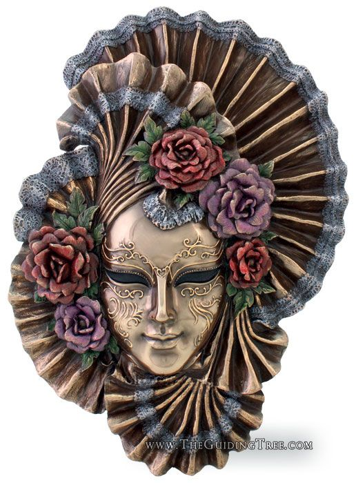 Venetian Mask Wall Plaque - Peony - Cold Cast Bronze [TL321900235] - $69.00 : Unique Gifts for Body Mind and Spirit | Metaphysical, Conscious Living, Personal Growth and Development | Statuary, Tarot, New Age Music, Books, Home and Altar Decor, The Guiding Tree