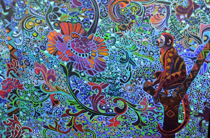 "https://flic.kr/p/9MvXMg | Monkey appreciates a flower, detail from ""Games in the Canopy"" painting by Alfredo M. Arreguin, Swedish Hospital, 2nd floor imaging, Ballard, Seattle, Washington, USA"