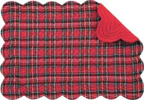 Set of 4 PCS,13X19 Inches Quilted SCALLOP Placemats, RED PLAID by C $37.39. Save 33%!