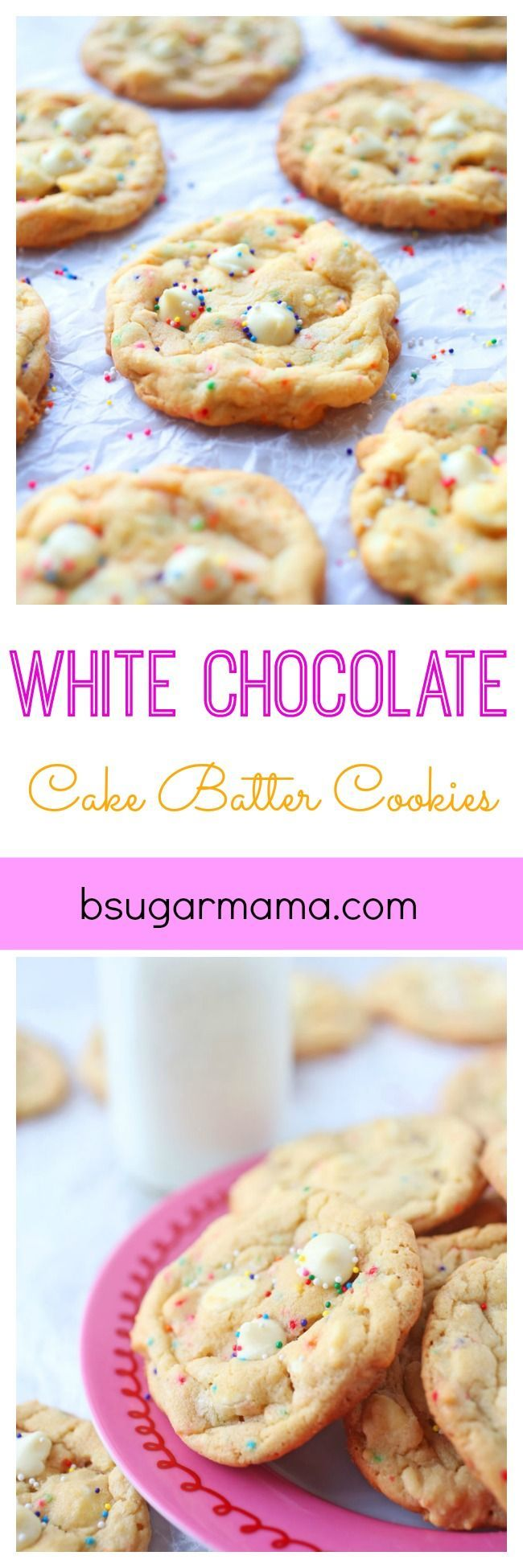 These White Chocolate Cake Batter Cookies are full of white chocolate chips and made with cake batter for an extra buttery flavor. You will love these white chocolate chip cookies.