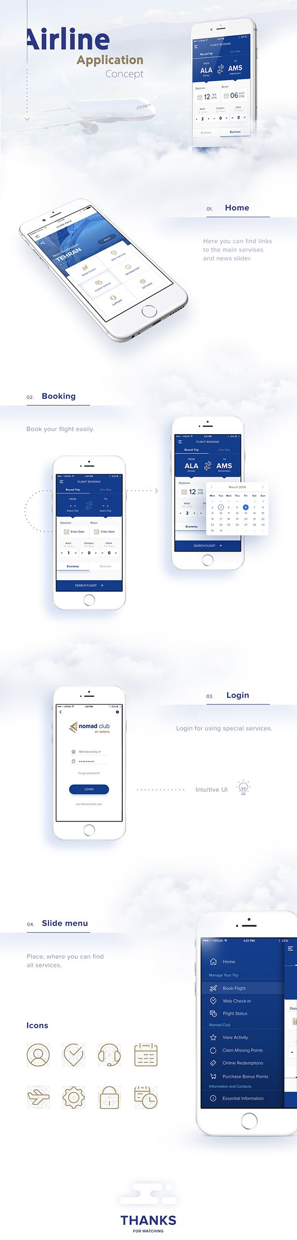 Airline app Concept   Yevgeniy Khaimin