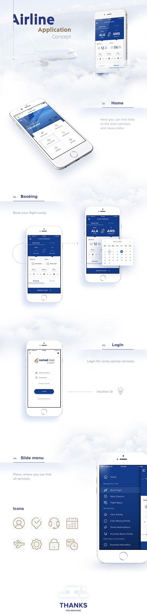 Airline app Concept | Yevgeniy Khaimin