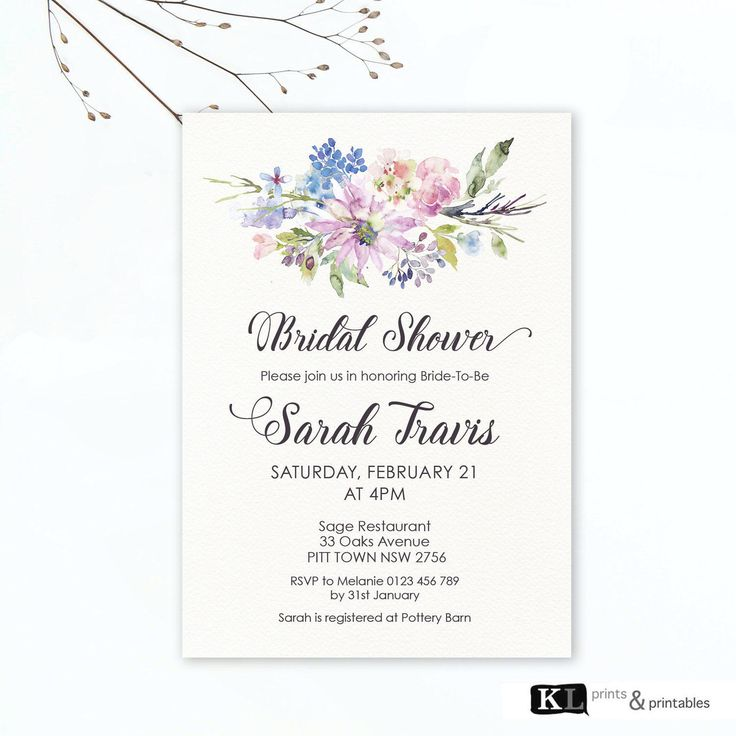 Printable Bridal Shower Printable watercolor flowers Invitation Personalized Invitation digital bridal shower invites - purple pretty invite by KLprintsandprintable on Etsy