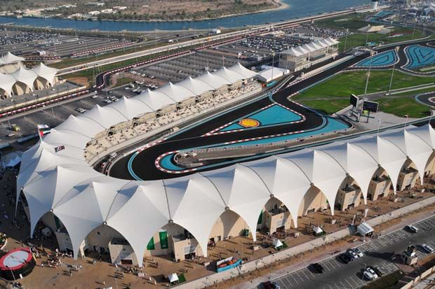Aerial view of Yas Marina circuit from the North