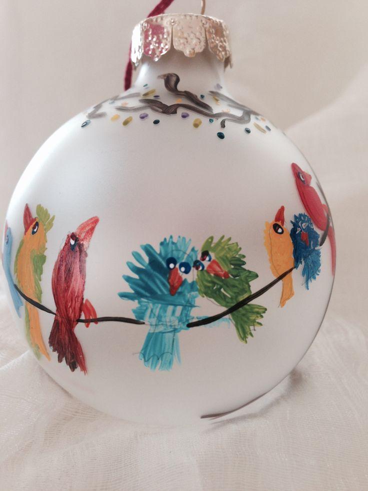 Lovebirds. Hand-painted ornament. By Melissa McNamara