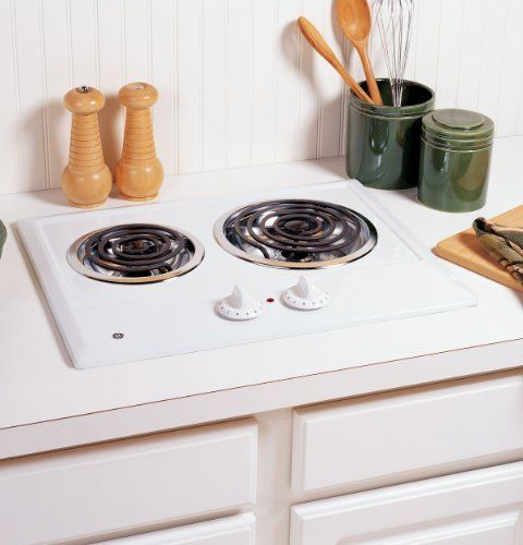 """GE 21 In. White Electric Cooktop - JP202DWW by General Electric. Save 15 Off!. $259.99. The frameless black GE JP256BMBB cooktop adds style and elegance to smaller cooking spaces. One burner on the glass cooktop is a 6 to 9 in. dual element. This means that you can choose to use either a 6 in. or a 9 in. piece of cookware on this burner. This feature avoids using extra energy to heat a larger surface area than necessary.This model of cooktop is perfect for a small area at only 21"""" wide…"""