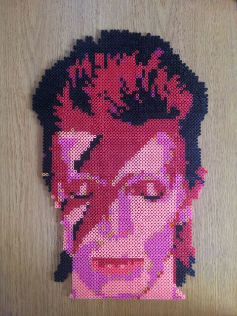 David Bowie (1947-2016) perler beads by by Komaka