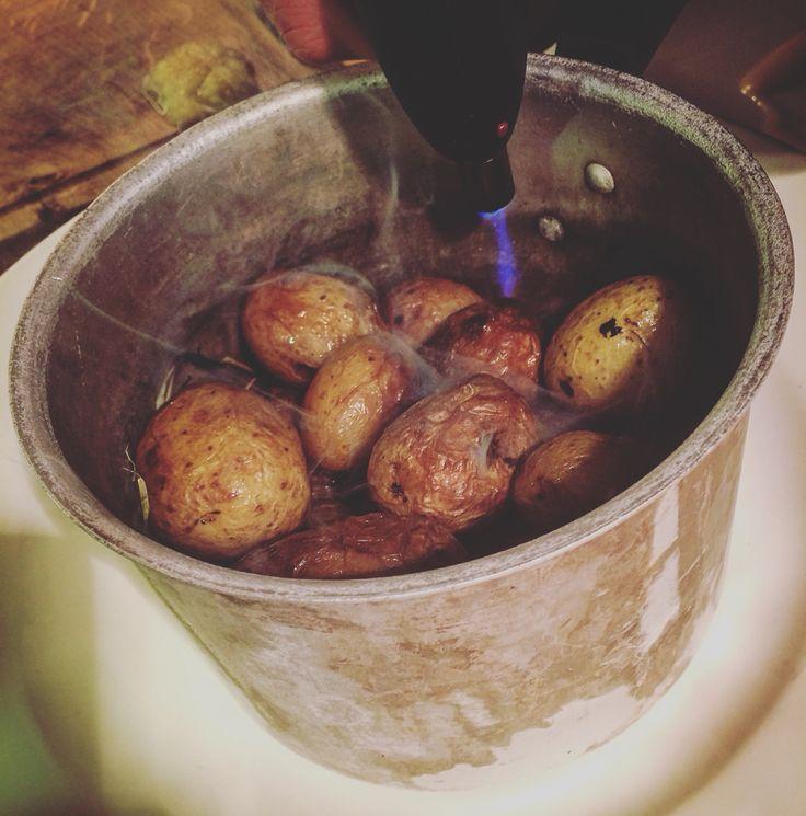 Smoked potatoes.