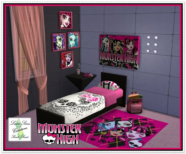 Emsemble pour chambre monster high luna sims mes for Stickers monster high pour chambre