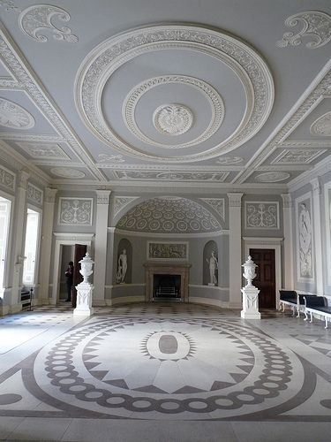 ROBERT ADAM: Entrance Hall of Osterley Park House, blue/grey color scheme and…