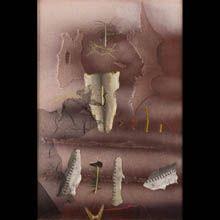 technika / materiał: collage, olej, płótno  wymiary: 120x80  oznaczenie autorskie: Nie sygn., na odwrocie napis: J. STERN STRUKTURY collage