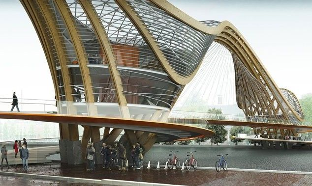 Galer a de puente peatonal en amsterdam laurent saint for Design bridge amsterdam