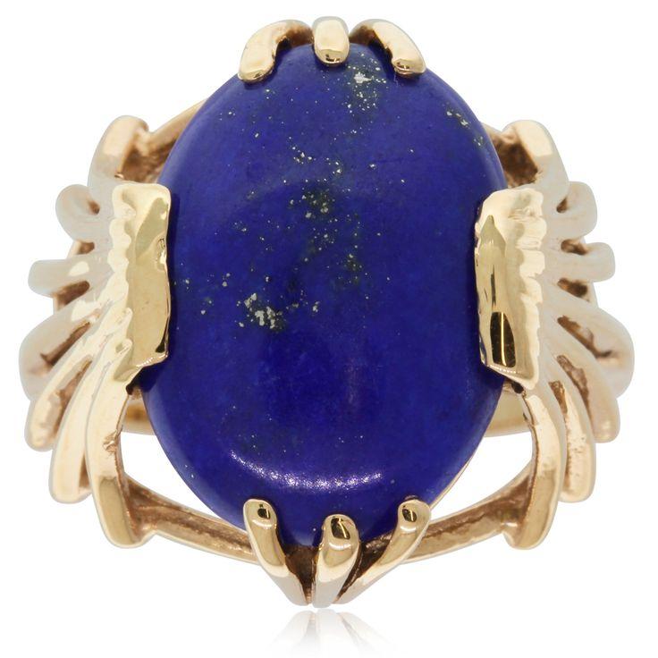 Vintage 14ct yellow gold lapis lazuli ring