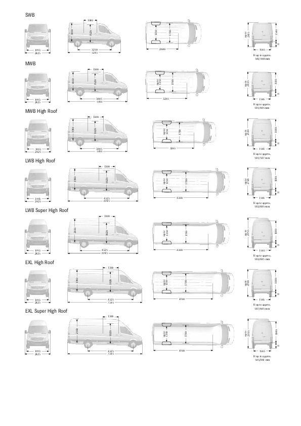 Bildergebnis für Mercedes Sprinter Van Dimensions